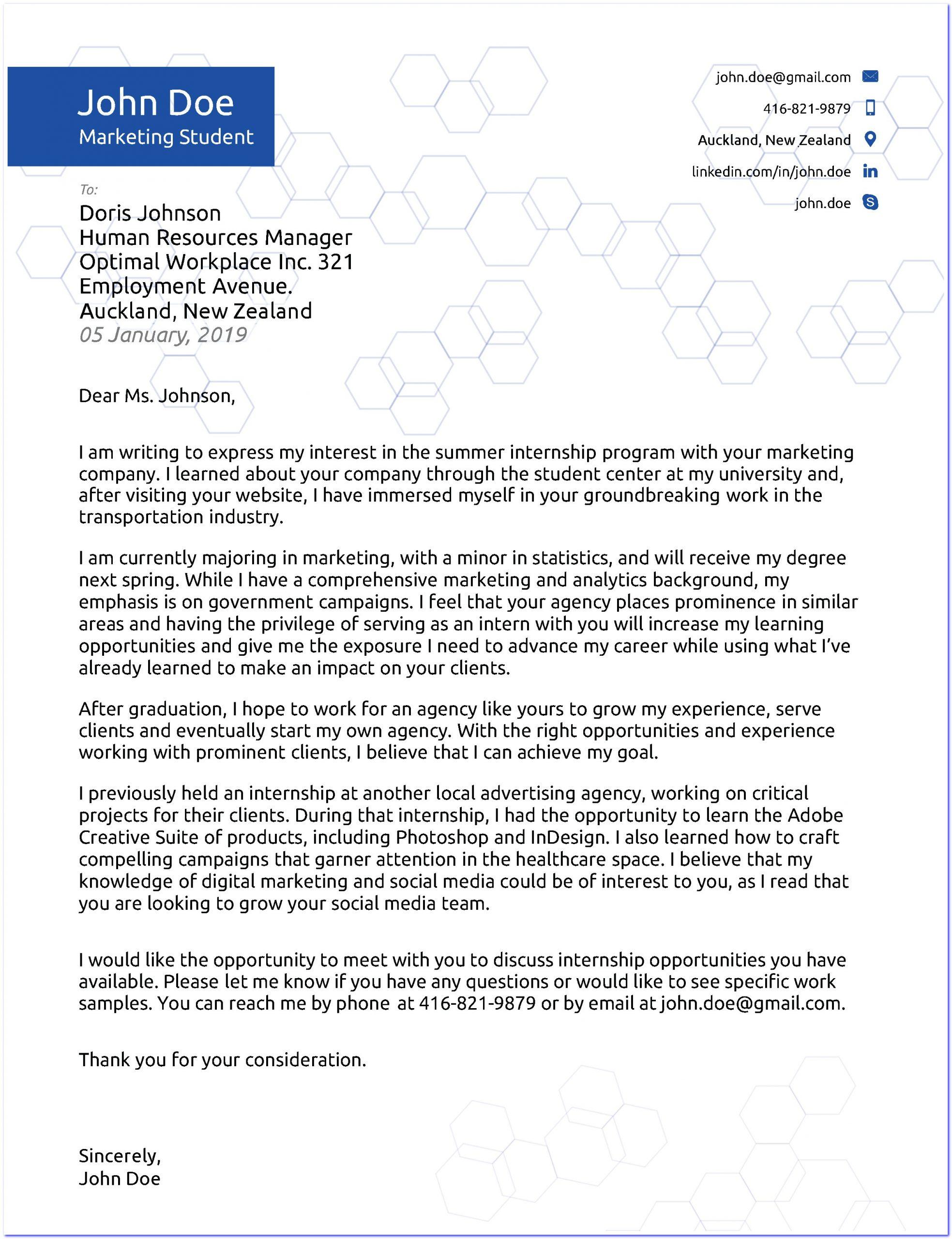 Summer Internship Cover Letter Samples from doldurcv.com
